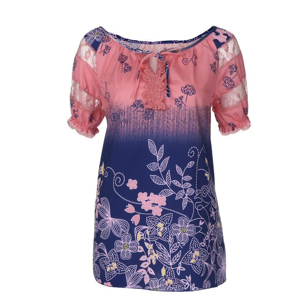 Tees for Women Graphic,Frog Fun Women Short Sleeve V-Neck Lace Printed Lace Tops Loose T-Shirt Blouse
