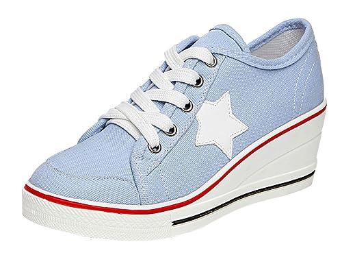 1bc3b1df95f Wealsex Mujer Lona De La Cuna De Tacon Cerrado Deporte Zapatos Cordones 6  CM Zapatos de