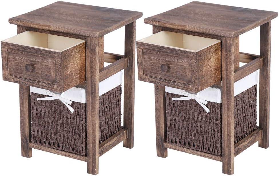 Cocoarm Nachttisch mit Korb 2 Teile Holz Nachtschrank Nachtkonsole Landhaus Nachschr/änckchen Nachtkommode Beistelltisch Beistellschrank Flurtisch Badregal mit Schublade Braun 27.5 x 31 x 45.5cm