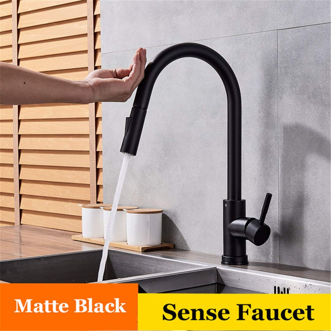 HEFGEW Kitchen Faucet Pull Out Sensor Stainless Steel Sensitive Touch Control Faucet for Kitchen Touch Sensor Kitchen Mixer Tap C