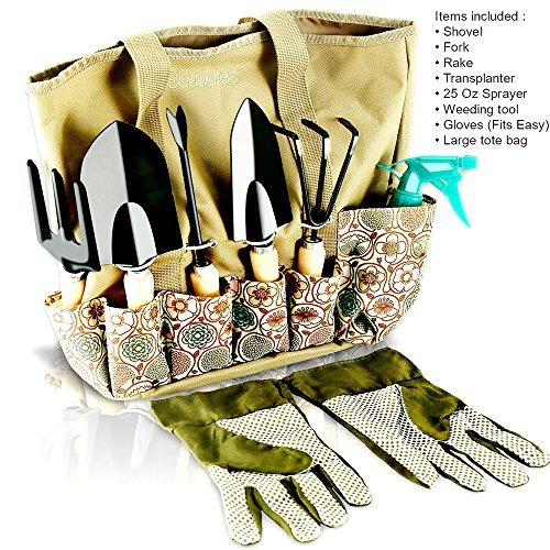 Scuddles Garden Tools Set - 8 Piece Heavy Duty Gardening tools With Storage Organizer, Ergonomic Hand Digging Weeder, Rake, Shovel, Trowel, Sprayer, Gloves Gift for Men & Women (Gardening)