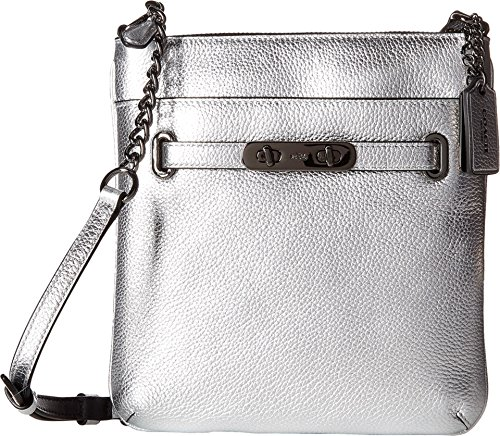 COACH Women's Pebbled Leather Coach Swagger Swingpack DK/Silver Cross Body