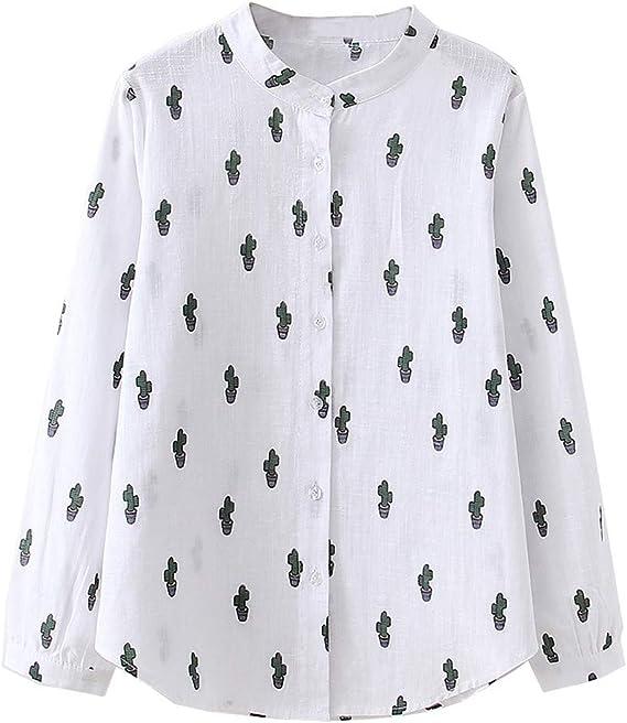 Fossen Blusas para Mujer Verano Otoño 2019 Elegantes Chic - Suelta Camisa de Corea Camisa con Estampada de Cactus Manga Larga - Personalidad Blusa Originales para Oficina, Fiesta, Ocio, Vacaciones: Amazon.es: Ropa