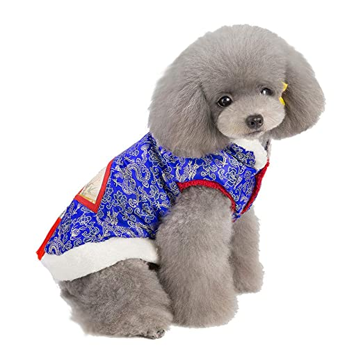 Amazon.com : BingYELH Chinese Style Dog Cheongsam T Shirt Clothes Lovely Pet Tang Suit Clothing Dress Costume for Dogs Pet Puppy Cats : Pet Supplies