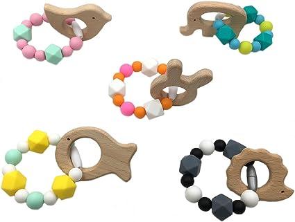 Best for baby Perles en silicone Dentition en bois Baby dentition Nursing Accessoires Bracelet en bois bague Montessori Toys B/éb/é douche Cadeau maison jouets