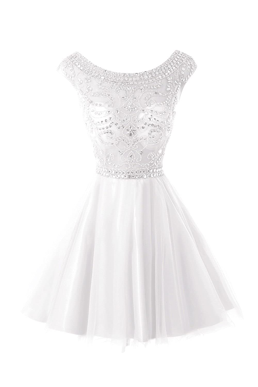 White Bess Bridal Women's Cap Sleeve Beaded Short Prom Homecoming Dresses