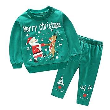 toddler baby kids boys girls christmas party outfits set long sleeve santa t shirt tops