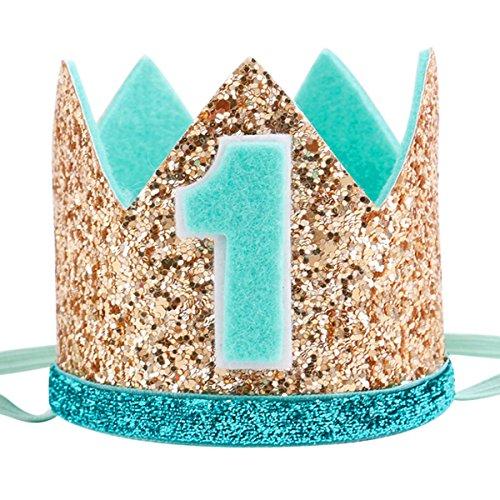 Boy Party Mints - Maticr Glitter Baby Boy First Birthday Crown Number 1 Headband Little Prince Princess Cake Smash Photo Prop (Gold Mint 1)