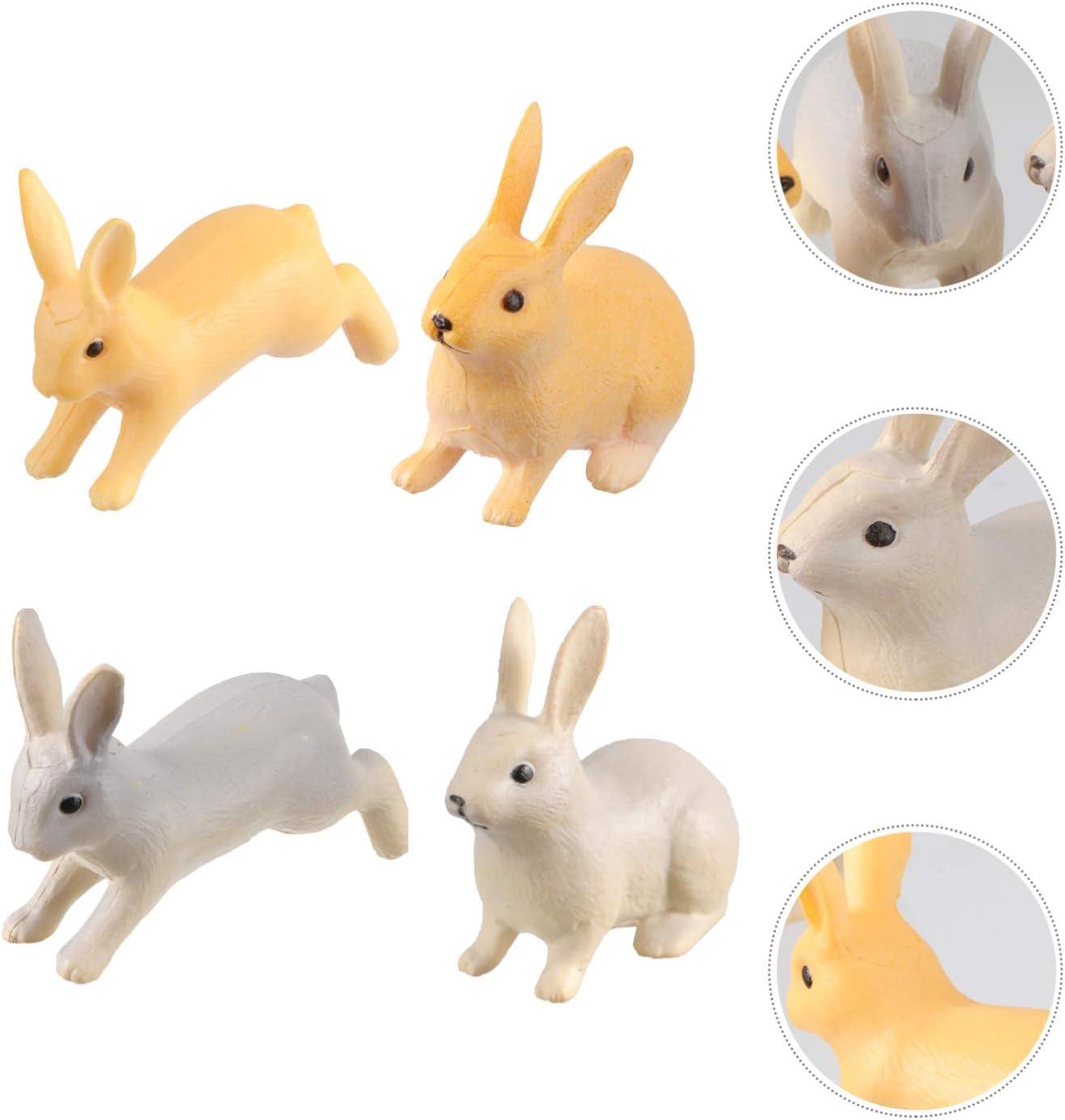 YARNOW 4 Piezas Mini Figuras de Conejito Lindo Animales en Miniatura Estatuas Jard/ín de Hadas Conejo Pastel de Pascua Decoraci/ón de La Magdalena Jard/ín de Hadas Casa de Mu/ñecas Micro