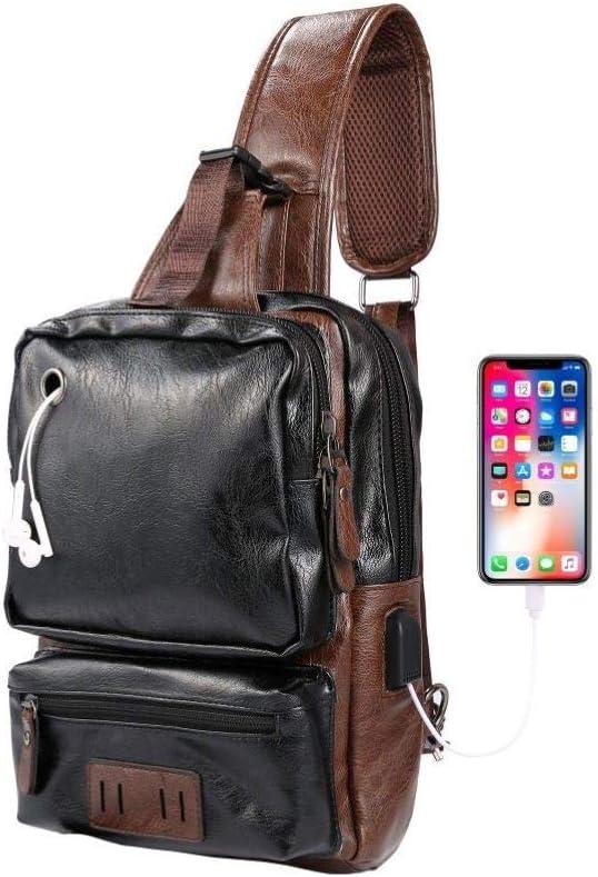 Men's Sling Bag, Crossbody PU Leather Shoulder Backpack with USB Charging Port, Vintage Chest Bag for Men (Black)