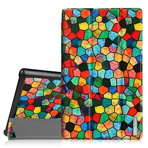 (Fintie Slim Case for Fire HD 10 (5th Generation, 2015 Release), Ultra Lightweight Stand Cover with Auto Wake/Sleep for Amazon Fire HD 10.1 inch Tablet (NOT Fit HD 10 7th Gen 2017), Mosaic)