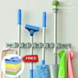 BLUE TOADS Broom Holder Wall Mounted with 5 Years gaurantee+Microfiber Cloth   4 Slots and 4 Hooks-Nothing Slides with Our Broom mop Holder