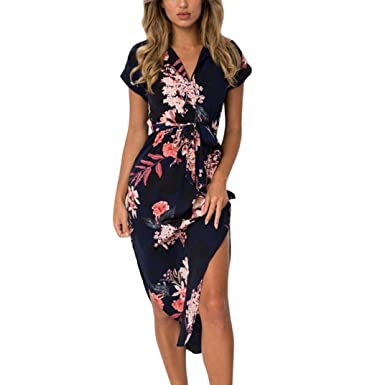 1f3991586e Bright_99 Sommerkleider Damen Kurzarm V-Ausschnitt Strand Blumen Kleider  Abendkleid Knielang (Navy, S