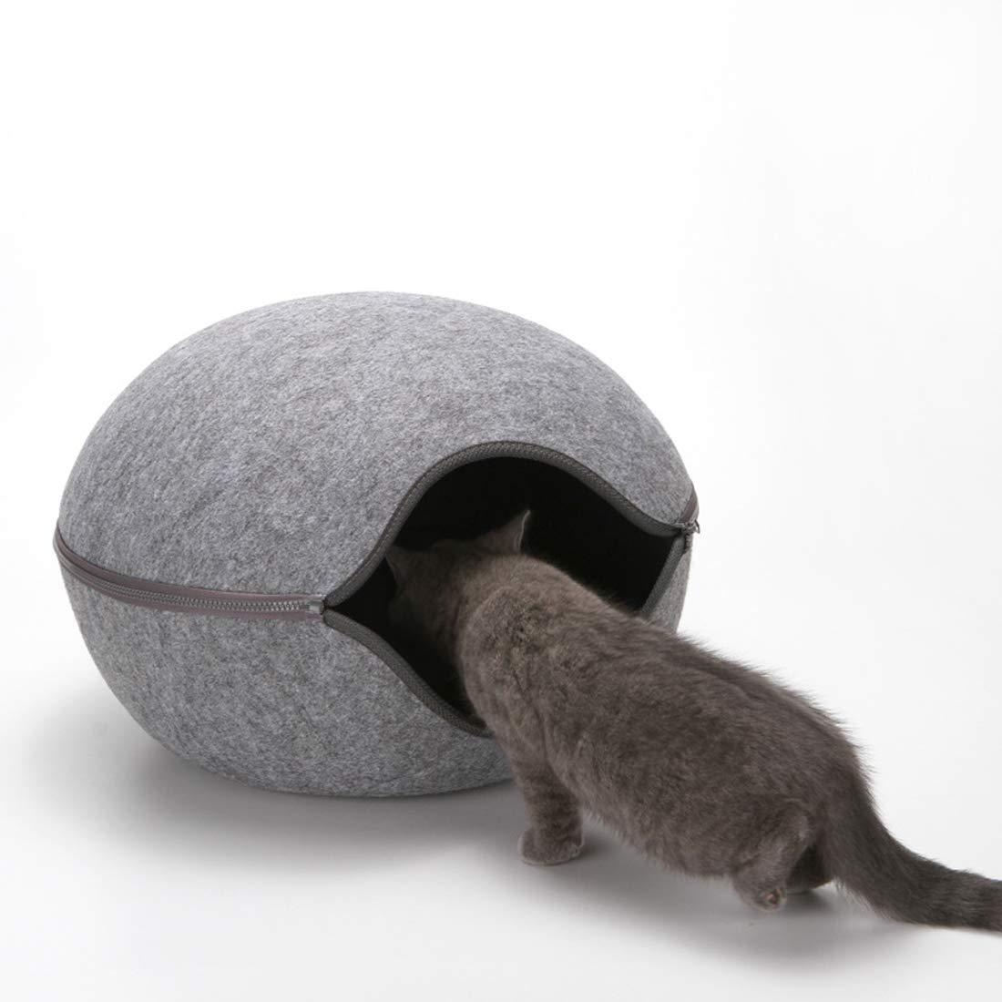 B Outdoor Dog Kennel Egg Shape Dog Cat Bed Cat Sleeping Bag Zipper Felt Cloth Winter Warm Pet House All Around Cat Nest Detachable Cushion Mat Dog House,B