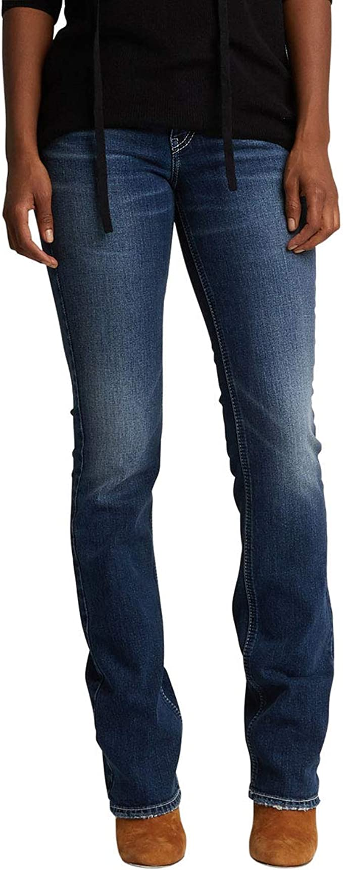Silver Suki Slim Boot Cut Jeans Distressed Flap Pocket Plus Size 18 20 22