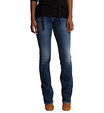 3ac86a5b Amazon.com: Silver Jeans Co. Women's Suki Curvy Fit Mid Rise Slim Bootcut  Jeans with Flap Pockets: Clothing