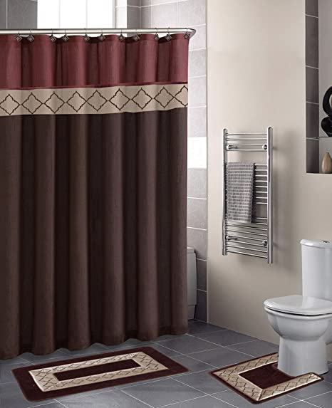 Dynasty Burgundy Diamond 15 Piece Bathroom Accessory Set 2 Bath Mats Shower Curtain