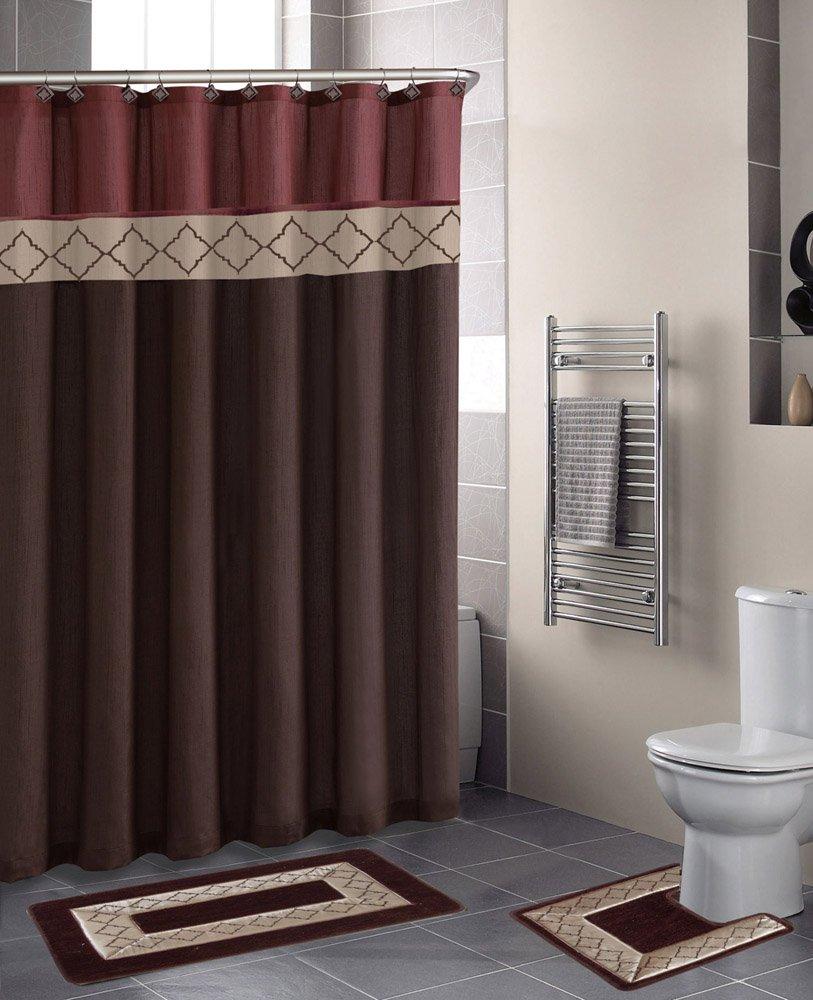 New Rust Brown Diamonds, Contemporary Bath Shower Curtain 15 Pcs Modern Bathroom Rug Mat Contour Hook Set