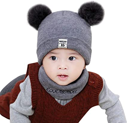 Baby Toddler Kids Boy Girl Winter Warm Knitted Crochet Beanie Hat Cap Scarf Sets