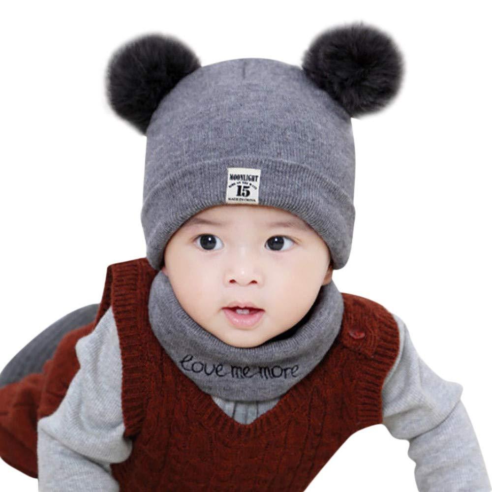 QinMM Neonato Bambini Bambino Ragazzo Ragazza Cappello Pom Set di Sciarpe per Berretto Invernale Lavorato a Maglia all'Uncinetto