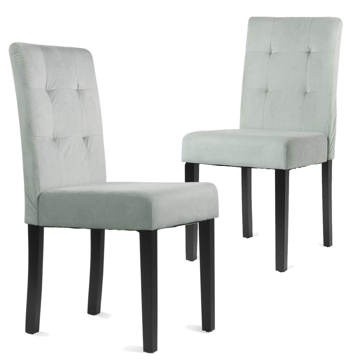 Barton Parsons Flannel Tufted Upholstered Dining Chair, Set of Two (Grey)
