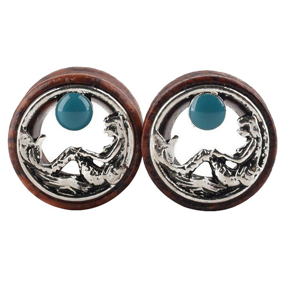 SoundsBeauty 1 Piece Unisex Wood Ear Plug Hollow Mermaid Pattern Ear Tunnel Ear Gauge Body Piercing Jewellery 10mm