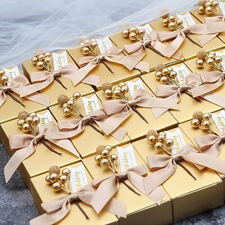 MUCHEN SHOP Cajas de Dulces de Boda,30 Pack Bolsas Regalo Comunion con Nudo de Mariposa Flores Pegatinas Caramelos Papel para Cumpleaños Navidad Baby ...