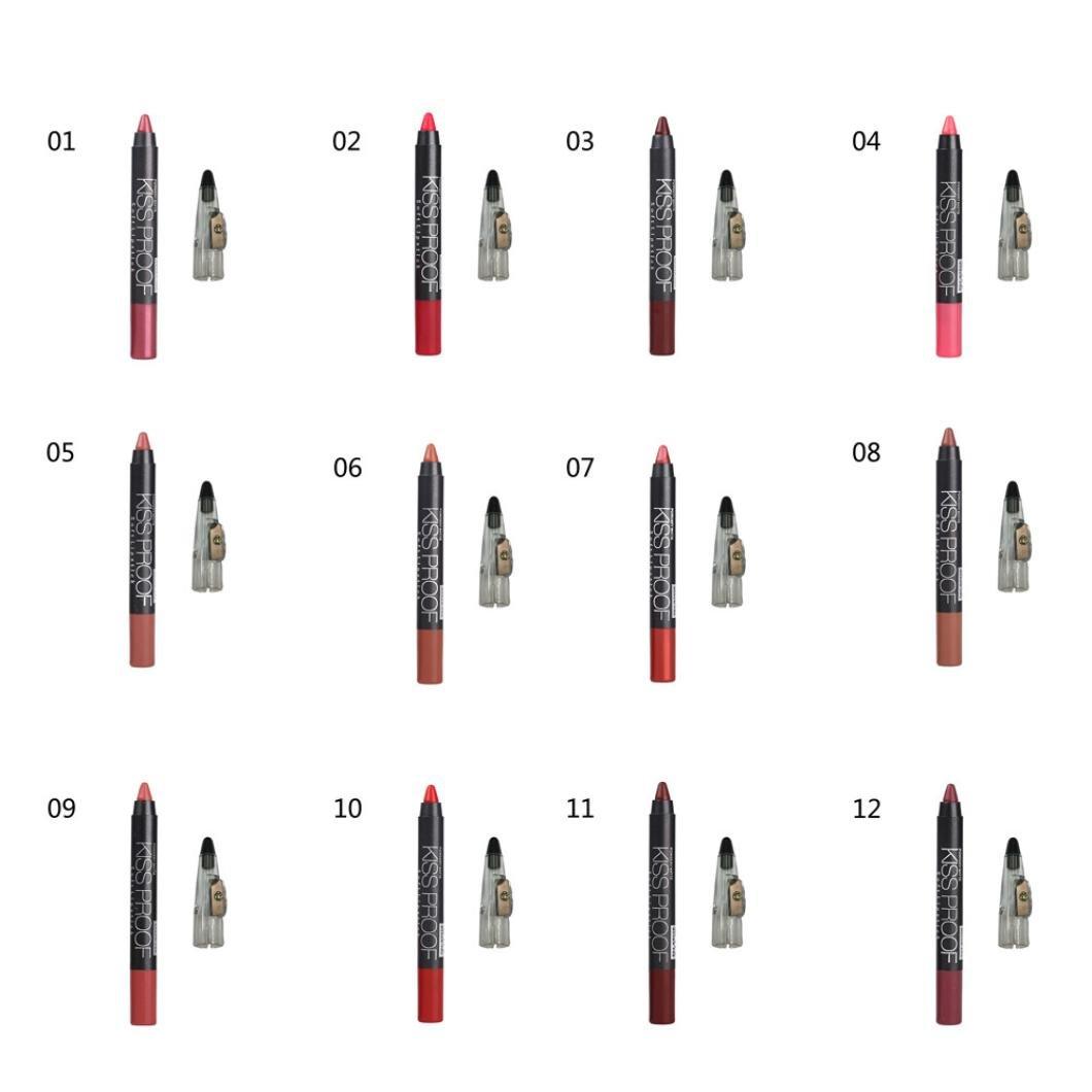 Hunputa Lipstick,Women Professional Waterproof Solf Kiss Proof Lipstick Long Lasting Makeup Lip Gloss Pencil sharpen (12PCS)
