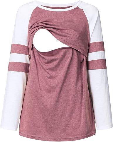 Tops de Lactancia para Mujeres Camisetas Embarazada de Manga Larga Color Blusas y Camisas Premamá Lactancia Ropa Maternidad: Amazon.es: Ropa y accesorios