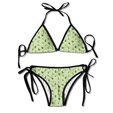 74ce903adf3be Amazon.com  Women s Green Avocado Fruit Sexy Triangle Bathing Two Pieces  Swimsuit Bikini Set Stylish Swimwear  Clothing