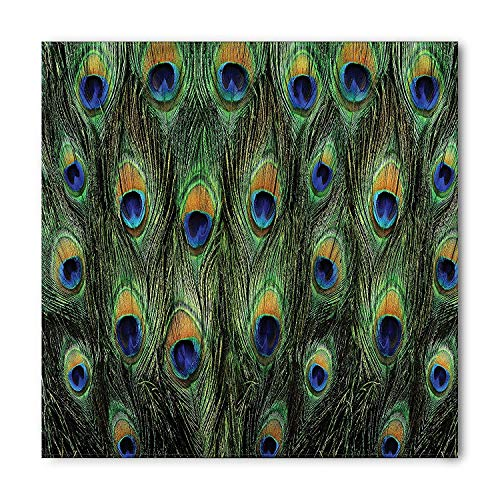 Instantarts Exotic Animal Peacock Feathers Green Square Scarf Women Girl Unisex wear Bandana Hair Bandage Fore Wrap 53cm x 53cm