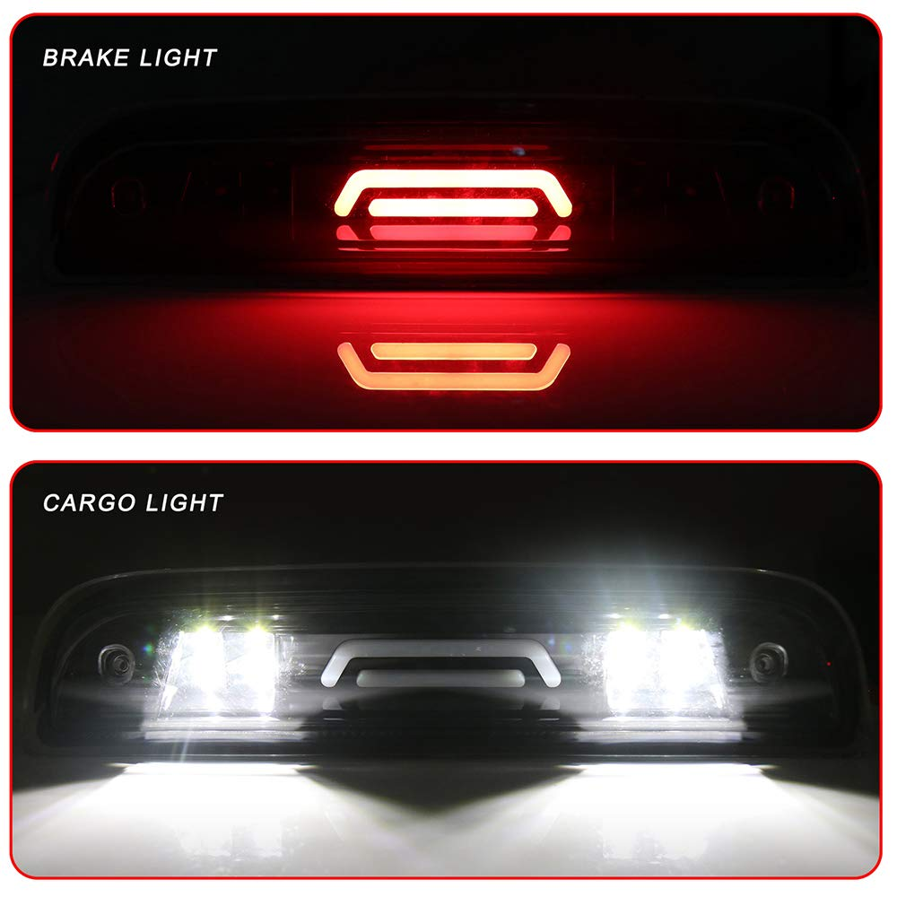ROADFAR Third Brake Light LED 3rd Brake Light Smoke Lens Black Housing Replacement fit for 2014-2018 GMC Sierra 1500 Chevy Silverado 1500 2015-2018 GMC Sierra 2500HD 3500HD Chevy Silverado 2500 3500
