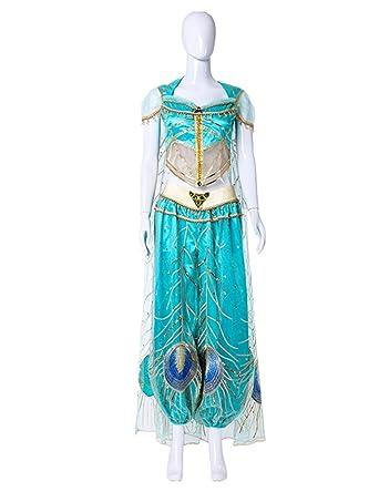 GEGEXIAOWU Disfraz de Pavo Real de la Princesa Jasmine Lady Belly ...