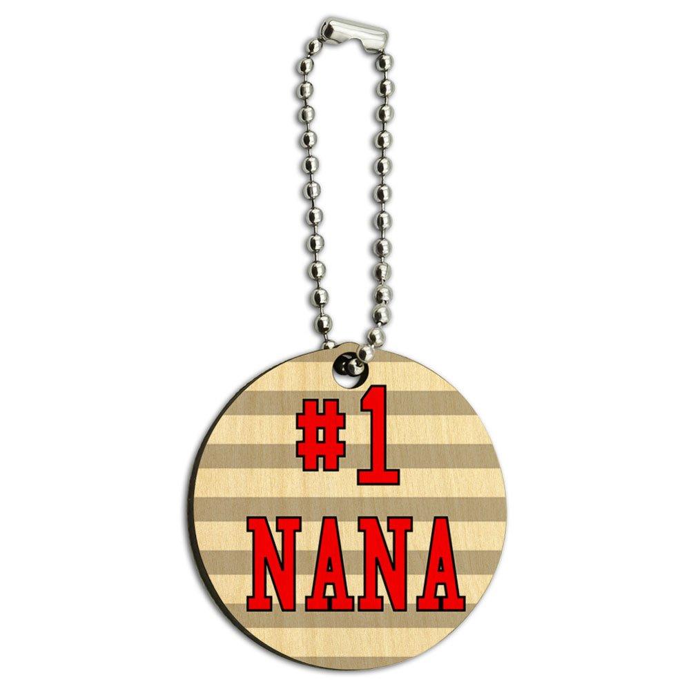 #1 Nana Number One Grandma Wood Wooden Round Key Chain