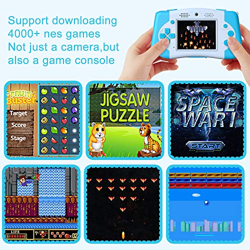 PROGRACE Kids Camera Portable Handheld Game Console for Toddler 4-12 Year Old Girls Boys Toy Gifts Children Camera for Kids Support 4000+ Games Music Selfie Kids Digital Video Camera 12M 2.4Inch(Blue)