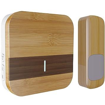 Wood Grain Wireless Doorbell Kit, Door Chime with 1000-feet Range ...