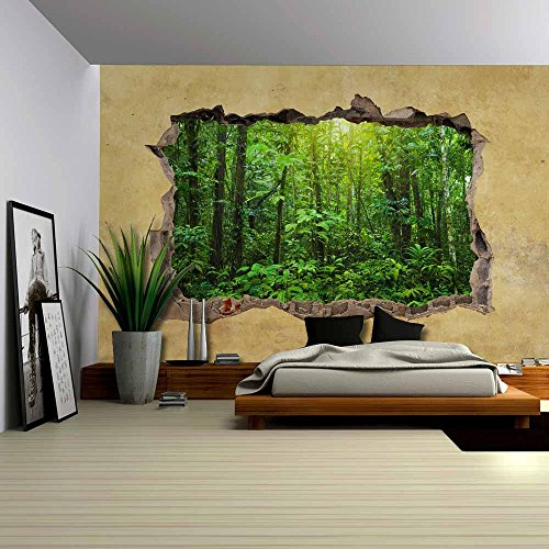 wall26 Tropical Rain Forest Viewed through a Broken Wall - Large Wall Mural, Removable Peel and Stick Wallpaper, Home Decor - 66x96 inches (Peel And Stick Wall Murals)