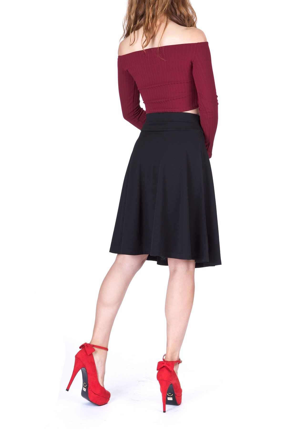 Impeccable Elastic High Waist A-line Full Flared Swing Skater Knee Length Skirt (M, Black) by Dani's Choice (Image #5)