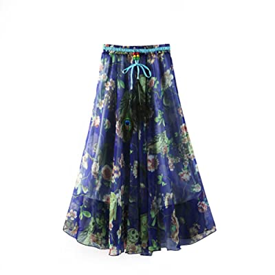 ZAMME Women's Girl Pleated Chiffon Beach Long Skirt Casual Floral Skirt at Women's Clothing store