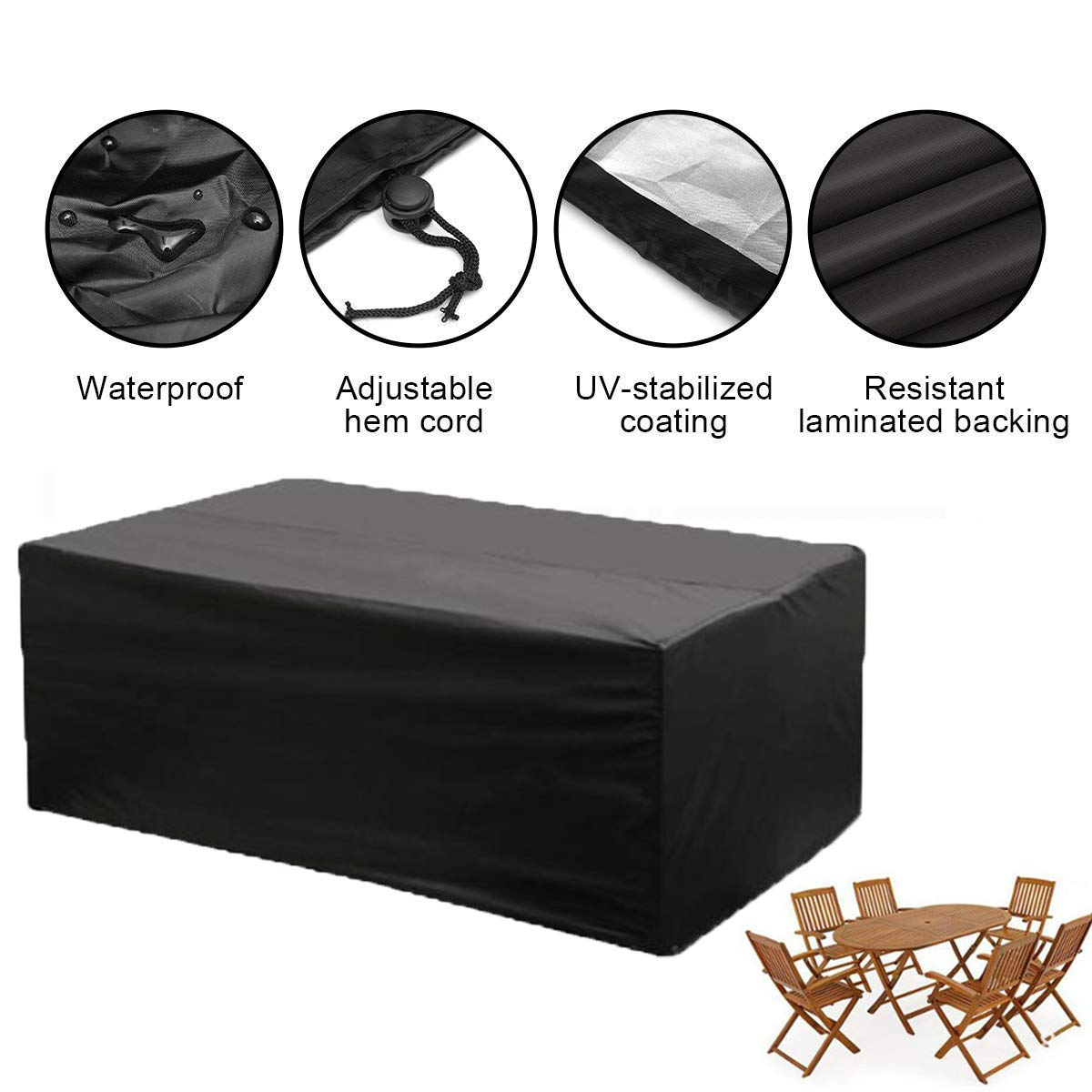 KING DO WAY Furniture Cover with Eyelets and Nylon Cord 213cm x 132cm x 74cm Waterproof Polyester Outdoor Sofa Sets Protection Garden Outdoor Table Cover Cube Sets Dust Cover