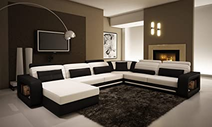 Amazon.com: Ultra Modern Cream and Black Leather Sectional Sofa ...
