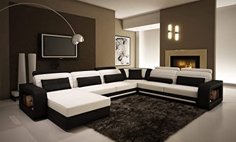 Amazon.Com: Ultra Modern Cream And Black Leather Sectional Sofa