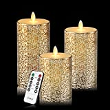 Vinkor Flameless Candles Flickering Candles Decorative Battery Flameless Candle Classic Real Wax Pillar With Dancing LED Flame & 10-key Remote Control 2/4/6/8 Hours Timers (Gold)