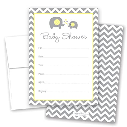 24 Cnt Yellow Elephant Baby Shower Fill In Invitations