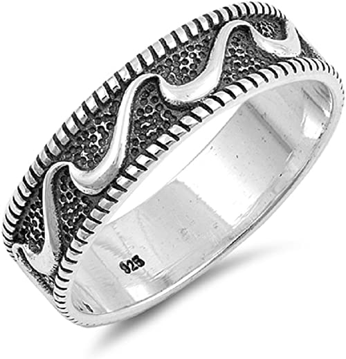 Princess Kylie Oxidized Sterling Silver Patterned Band Ring