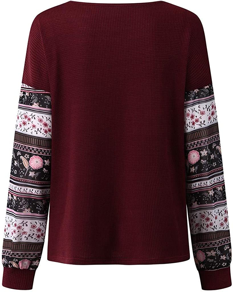 Newdiva Women Printed Long Sleeve Tops Pullover Round Neck Sweatshirts Blouse Shirt
