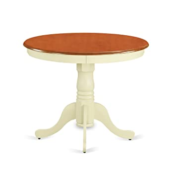 East West Furniture ANT WHI T Round Table, 36 Inch, Buttermilk