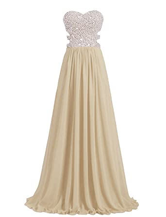 Victoria Prom Women A-Line Sweetheart Chiffon Floor Length Prom Dresses Champagne us2