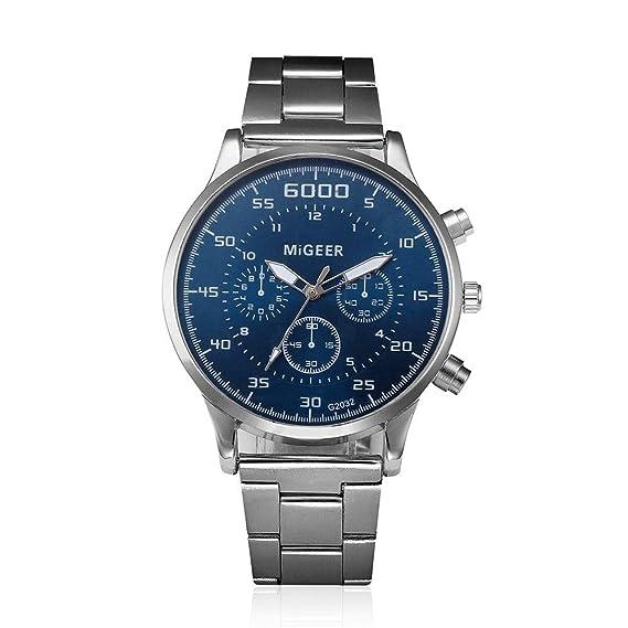 Bestow Reloj de Pulsera de Cuarzo Analšgico de Acero Inoxidable cristalino de Hombre de Moda(Azul): Amazon.es: Ropa y accesorios