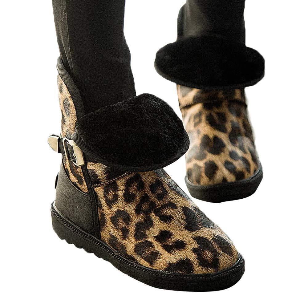 ZODOF Botas de Nieve para Mujer Calzado Plano con Estampado de Leopardo de Punta Redonda para Mujer de Invierno Mantenga cálidas Botas de Nieve con Hebilla ...